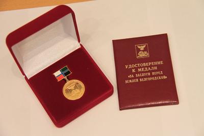 В Белгороде на заседании горсовета его председателя Сергея Глаголева наградили медалью «За заслуги перед землёй Белгородской» I степени