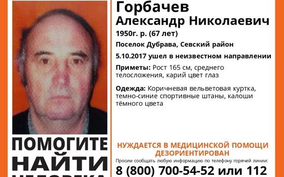 В Севском районе пропал 67-летний Александр Горбачев